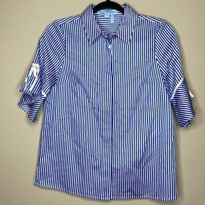 DRAPER JAMES Blue White Stripe Button Down 0